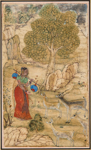 Illustration to a ragamala series: Todi Ragini Opaque watercolor on paper, Sub Imperial Mughal, early 17th century