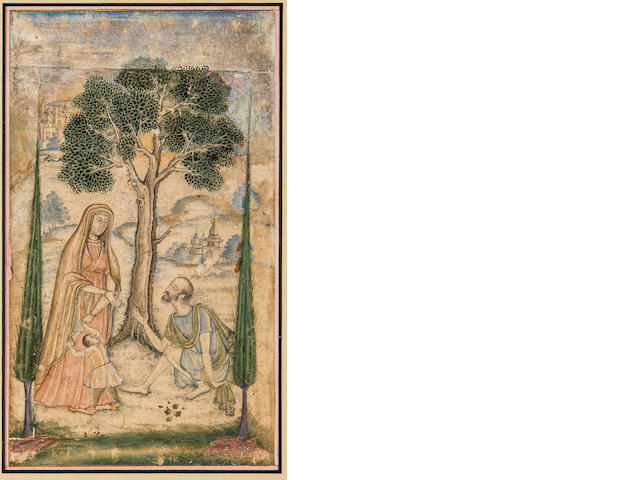 An allegorical scene Opaque watercolor on paper, Mughal, early 17th century