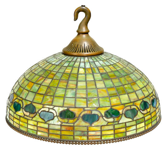 A Tiffany Studios Favrile glass and patinated bronze Acorn chandelier