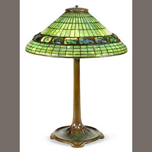 A Tiffany Studios geometric and turtleback tile table lamp