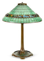 A Tiffany Studios Favrile glass and patinated bronze Geometric and Turtleback Tile table lamp 1898-1918