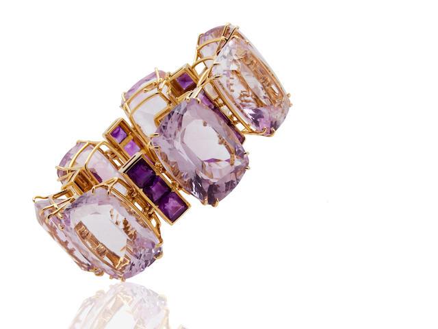 An amethyst bracelet, Tony Duquette