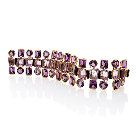 An amethyst and onyx bracelet, Tony Duquette