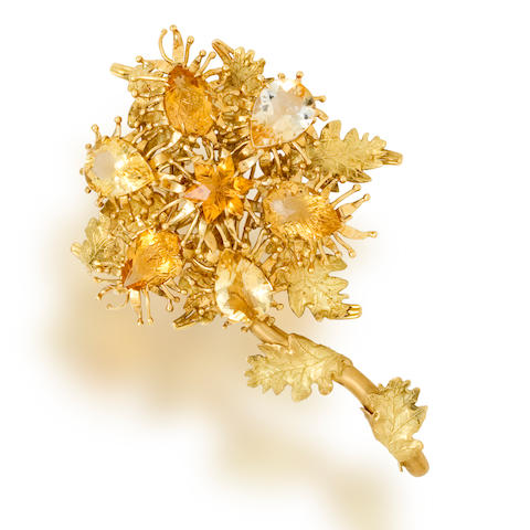 A citrine and eighteen karat gold brooch, Tony Duquette