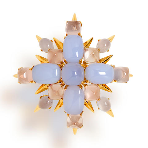 A blue chalcedony, rose quartz and moonstone brooch, Tony Duquette