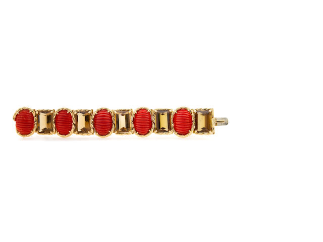 A coral and citrine bracelet, Tony Duquette