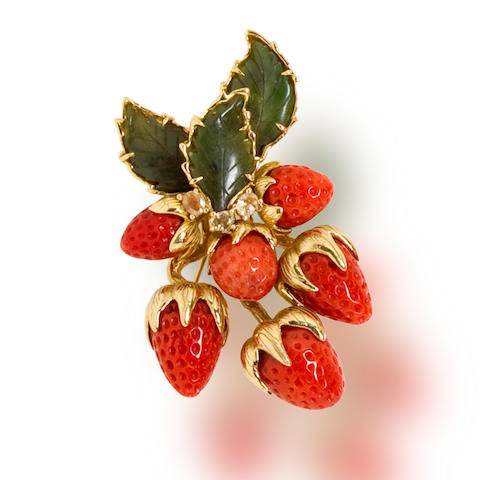 A coral, nephrite jade and yellow sapphire brooch, Tony Duquette