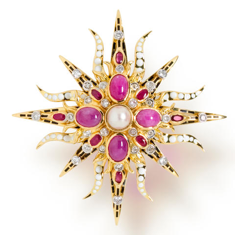 A ruby, diamond and enamel brooch, Tony Duquette