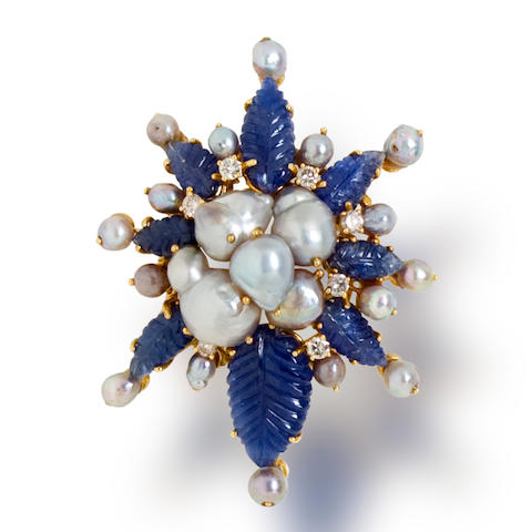 A sapphire, diamond, and cultured pearl brooch, Tony Duquette