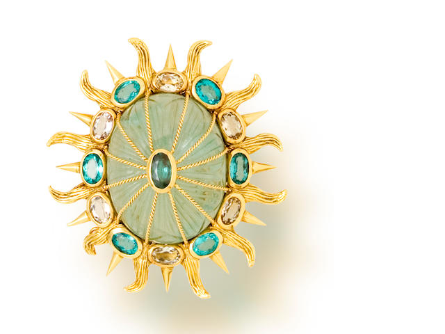A carved fluorite, apatite and citrine brooch, Tony Duquette
