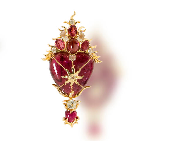 A pink tourmaline and citrine brooch, Tony Duquette