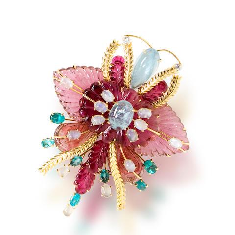 A gem-set and diamond brooch, Tony Duquette
