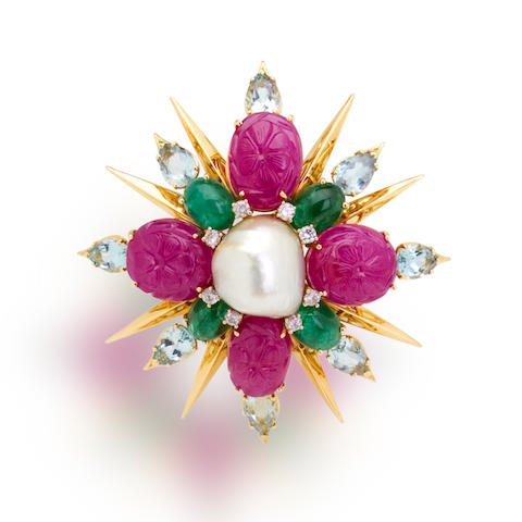 A ruby, emerald, aquamarine and diamond brooch, Tony Duquette