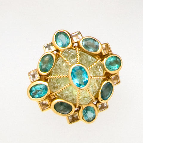 A fluorite, apatite and citrine ring, Tony Duquette