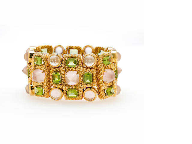 A rose quartz and peridot bracelet, Tony Duquette