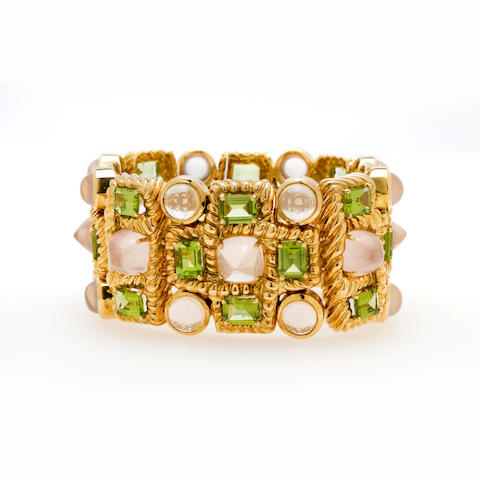 A rose quartz and peridot bracelet, Tony Duquette