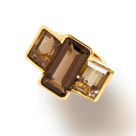 A smokey quartz ring, Tony Duquette