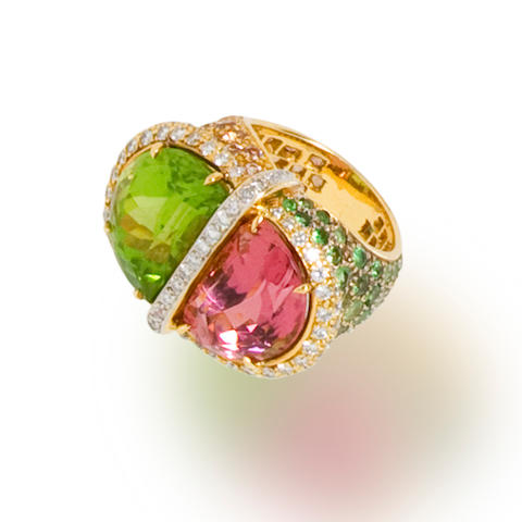 A gem-set and diamond ring, Tony Duquette
