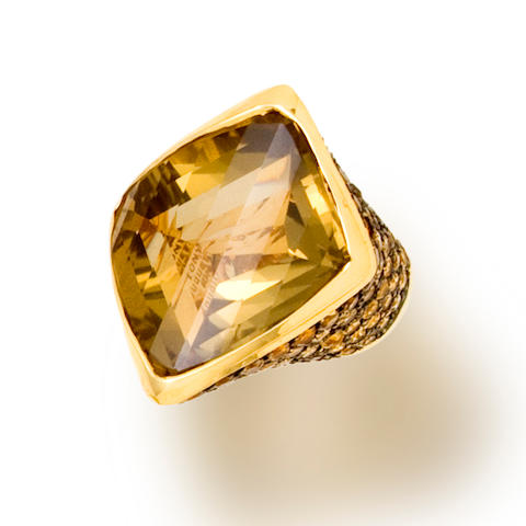 A citrine and yellow tourmaline ring, Tony Duquette