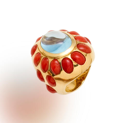 An aquamarine and coral ring, Tony Duquette