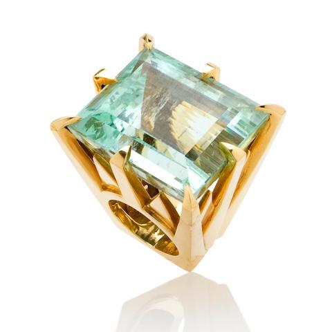 An aquamarine ring, Tony Duquette