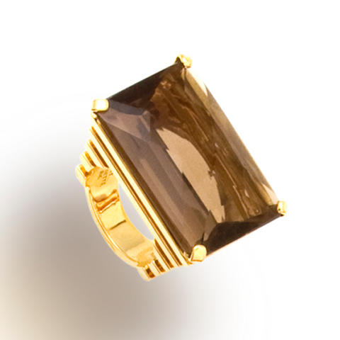 A smokey quartz ring, Tony Duquette