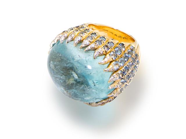 An aquamarine and diamond ring, Tony Duquette