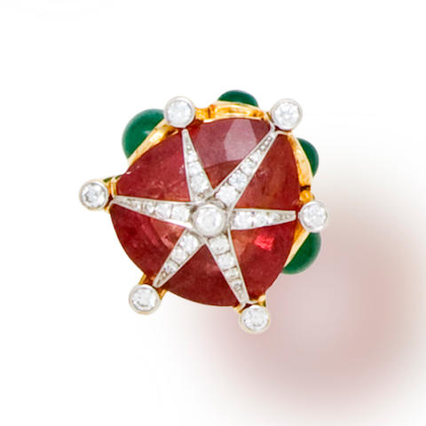 A pink tourmaline, emerald and diamond ring, Tony Duquette