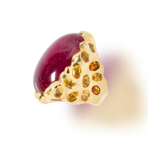 A ruby and citrine ring, Tony Duquette