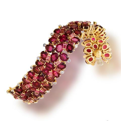 A pink tourmaline and diamond bracelet, Tony Duquette