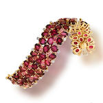 A pink tourmaline and diamond bracelet, Tony Duquette
