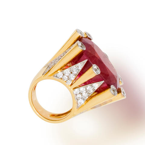 A pink tourmaline and diamond ring, Tony Duquette