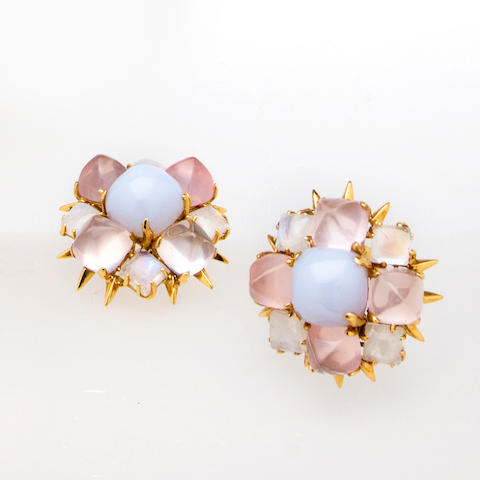 A pair of blue chalcedony, rose quartz and moonstone earclips, Tony Duquette