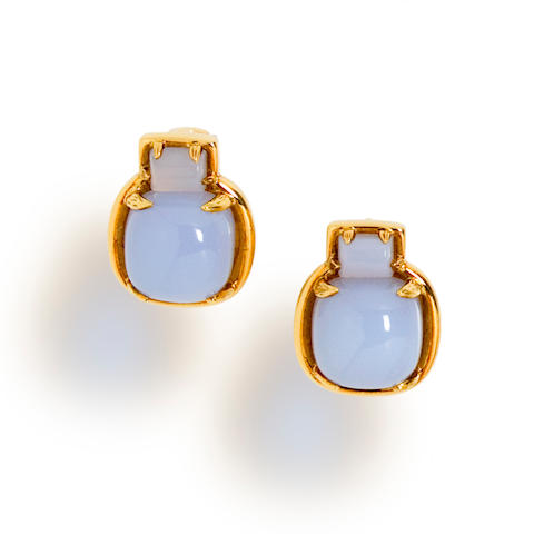 A pair of blue chalcedony earclips, Tony Duquette