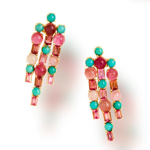 A pair of pink tourmaline and turquoise earrings, Tony Duquette