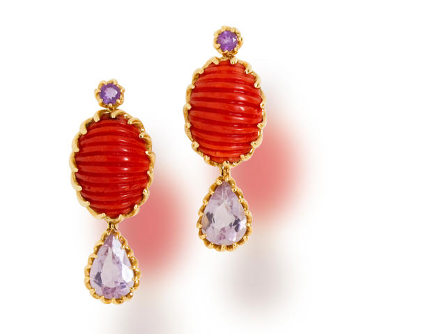 A pair of coral and amethyst pendant earclips, Tony Duquette
