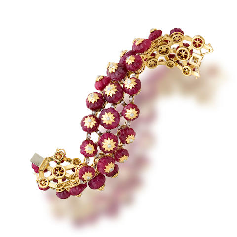 A ruby and diamond bracelet, Tony Duquette