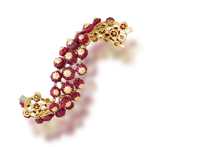 A ruby bead and diamond bracelet, Tony Duquette