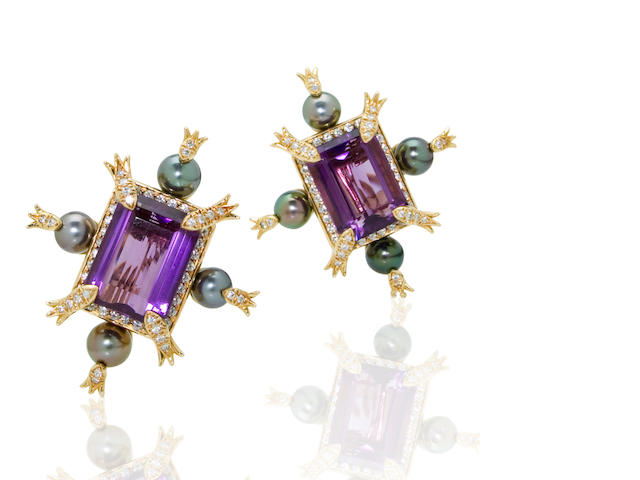 A pair of amethyst, cultured pearl and diamond earclips, Tony Duquette