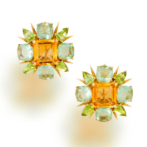 A pair of citrine, fluorite and peridot earclips, Tony Duquette
