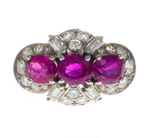 A pink sapphire and diamond three-stone ring, Schilling