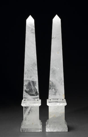 A pair of Neoclassical style rock crystal obelisks<BR /> late 20th century