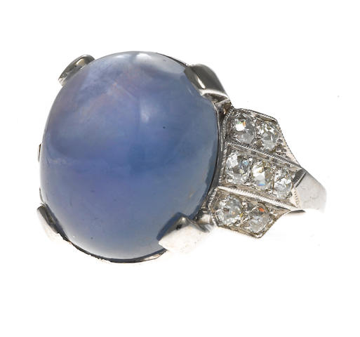 An art deco star sapphire and diamond ring,
