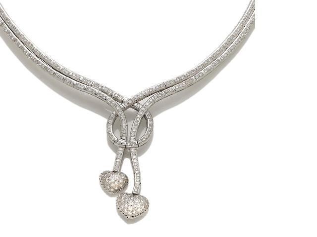 A diamond heart motif necklace