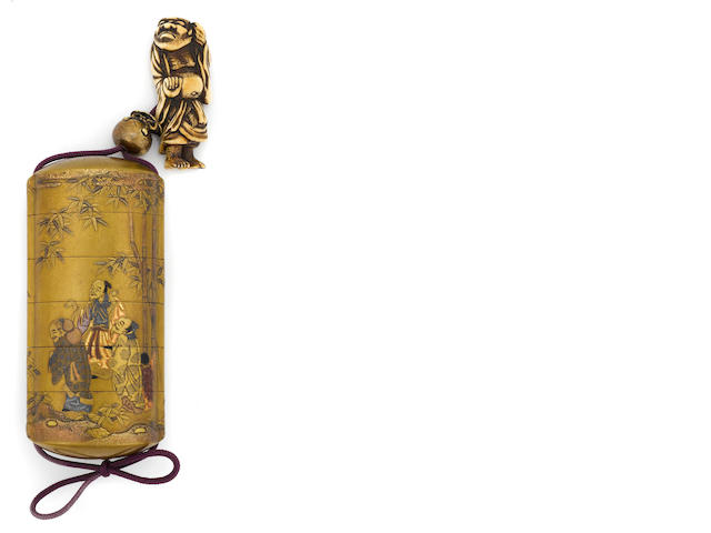 A gilt lacquer five-case inro<BR />Kajikawa school, 19th century