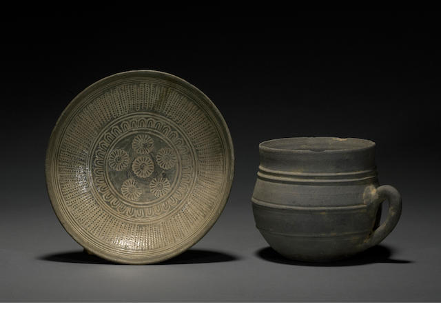 Two Korean ceramics, a cup and a punch'ong dish