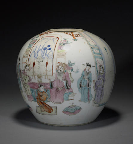 A polychrome enameled porcelain jar Late Qing/Republic period
