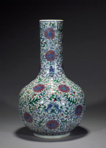 A doucai porcelain stick neck vase Kangxi mark