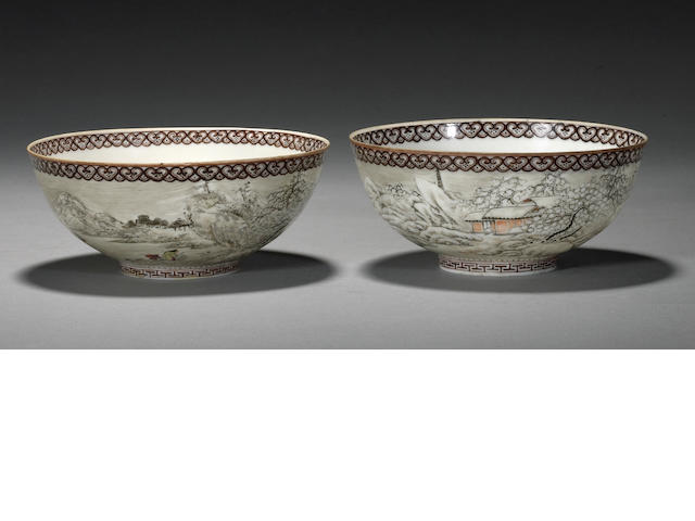 A pair of polychrome enameled eggshell porcelain bowls Qianlong marks, Republic period