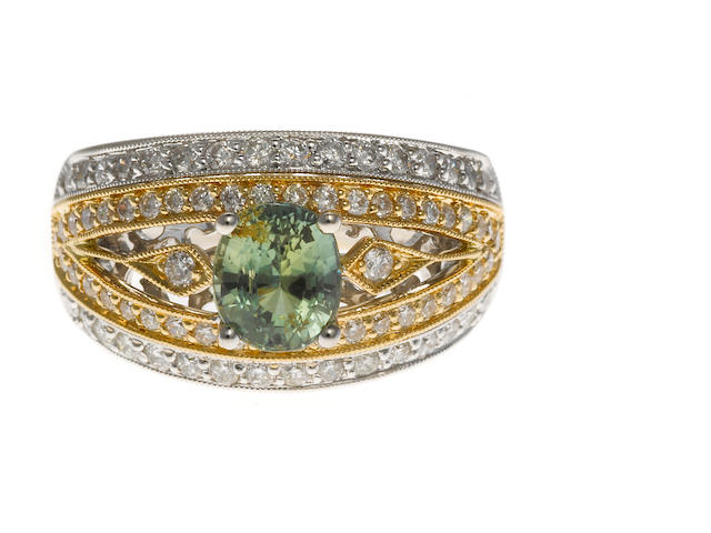 Alexandrite 14k yellow and white gold approx 1.58 cts